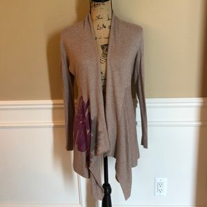 INC beige cardigan with purple orchid detail